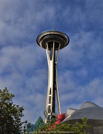 Space Needle with the roof of the MoPOP in the foreground