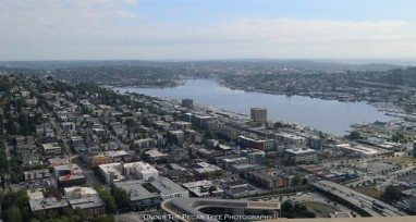 Looking Northeast at Lake Union, Queen Anne to the left and East Lake to the right.