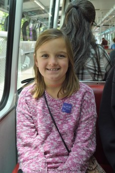 Sara on the Monorail from The Seattle Center to Westlake Station