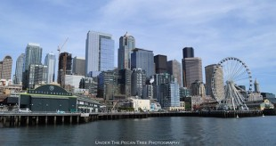 Seattle's skyline with the Aquarium to left at Pier 59