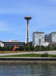 The Eagle at Olympic Sculpture Park with the Space Needle in the background.