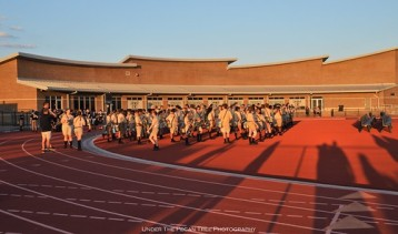The Colony High School Band in their football stadium I