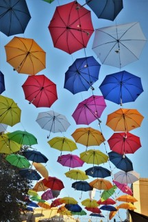 Biergarten covered with colorful umbrellas at the State Fair